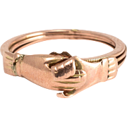 Reserved: Victorian Rose Gold Gimmel Fede Ring