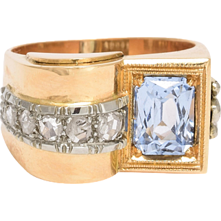 1940s Aquamarine & Diamond Cocktail Ring