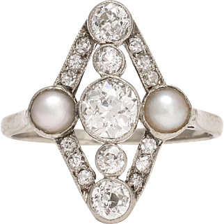 Edwardian Diamond & Pearl Cluster Ring