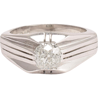 Art Deco 1.2ct Cushion Cut Diamond Ring