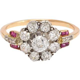 Art Deco Diamond & Ruby Flower Cluster Ring
