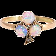 Edwardian Opal & Diamond Trefoil Conversion Ring