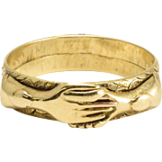 """Early Victorian Gimmel Fede """"Handclasp"""" Ring"""