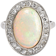 Antique Edwardian 3.5ct Opal & Diamond Cocktail Ring