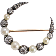 Antique Victorian Pearl & Diamond Crescent Moon Brooch