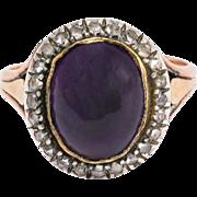 Georgian Cabochon Amethyst & Diamond Ring