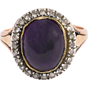 Georgian Cabochon Amethyst & Diamond Ring