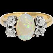 Edwardian Offset Opal & Diamond Ring