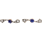 Edwardian Sapphire & Diamond Propeller Stud Earrings