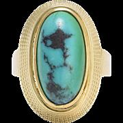 1960s Turquoise Matrix Egyptian Revival Ring
