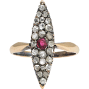 Victorian Ruby & Diamond Marquise Cluster Ring