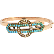 Victorian Turquoise & Pearl Infinity Bangle