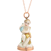 """18th Century Derby Chelsea """"Cupid Holding a Bottle"""" Porcelain Fob Seal Pendant"""