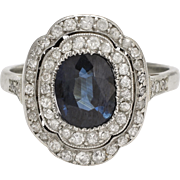Art Deco Sapphire & Diamond Halo Cocktail Ring