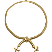 Victorian 18k Gold Gaspipe Collar Necklace