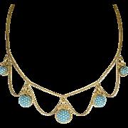 Victorian Etruscan Revival Pavé Turquoise Necklace