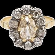 Georgian 2.5ct Old Cut Diamond Cluster Ring