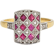 Antique French Ruby & Diamond Chequerboard Ring