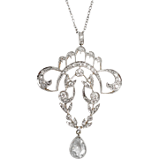 French Belle Epoque Platinum Diamond Pendant