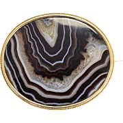 19th Century Imperial Russian Banded Agate Brooch