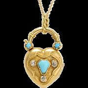 Georgian Turquoise & Diamond Heart Locket