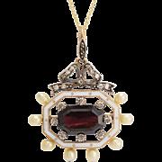 Victorian Garnet & Enamel Octagon Pendant