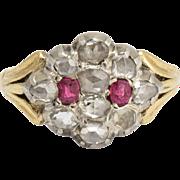 Georgian Ruby & Diamond Cluster Ring