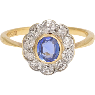Edwardian Sapphire & Diamond Cluster Engagement Ring