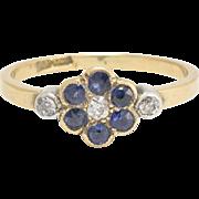 Antique Edwardian Blue Sapphire & Diamond Flower Ring