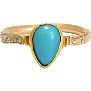 "Antique Georgian Turquoise & White Enamel ""A Friend's Heart"" Ring"