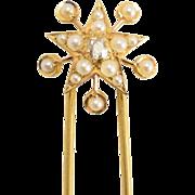 """Victorian Diamond & Pearl """"Star & Circles"""" Hair Pin"""
