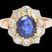 Late Victorian Sapphire & Diamond Cluster Ring