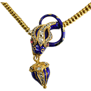 Mid Victorian Diamond & Blue Enamel Snake Collar