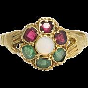 Victorian Opal, Emerald & Garnet Fede Cluster Ring