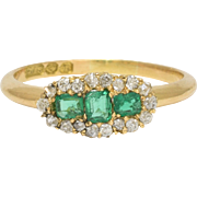 Victorian Emerald & Diamond Three-Stone Cluster Ring