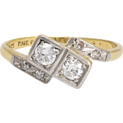 "Art Deco ""Toi et Moi"" Diamond Crossover Engagement Ring"