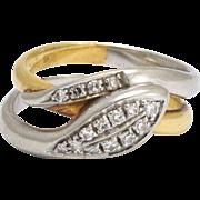 1950s Diamond Two-Tone Snake Ring in 18k Gold & Platinum