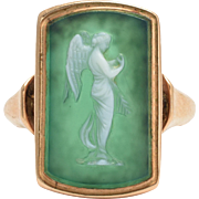 "Antique Georgian ""Nike"" Chrome Chalcedony Cameo Ring"