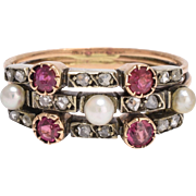 Victorian Ruby Diamond & Pearl Harem Ring