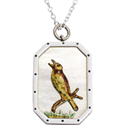 "Antique Victorian ""Song Thrush"" Framed Enamel Pendant"