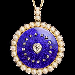Georgian Diamond & Pearl Round Locket