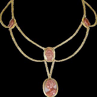 Georgian Medusa & Perseus Cameo Swag Necklace