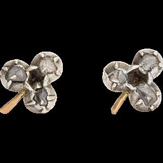 Georgian Rose Cut Diamond Clover Stud Earrings