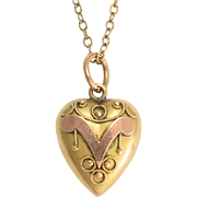 "Edwardian Puffed Heart ""V"" Charm Pendant"