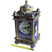 Antique French / Oriental Brass Enamel Cloisonne Carriage Clock Turquoise