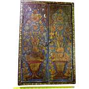 Fabulous Qajar 19th C. Hand Painted Cased Wall Mirror Persian Decorated