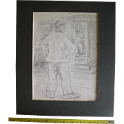 Original Charcoal Sketch signed Peggy Bacon, Dated 1931, Cartoon Caricature