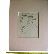 Original Signed Charcoal Sketch by Peggy Bacon, Drawing Cartoon Caricature