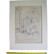 Original Signed Charcoal Drawing by Peggy Bacon, ca. 1930, Cartoon Caricature Sketch