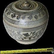 Ancient Thai Pottery LIdded Jar Sawankhalok 14th or 15th Century Blue decorations